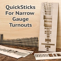 QuickSticks Laser Cut Ties For On3 #5 Turnouts - Drilled